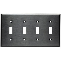 Stainless Steel - 4 Gang - Toggle Wall Plate - Enerlites 7714