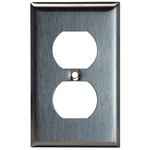 Duplex Receptacle Wall Plate - Stainless Steel - 1 Gang Image