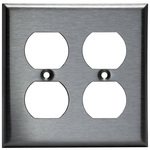 Duplex Receptacle Wall Plate - Stainless Steel - 2 Gang Image