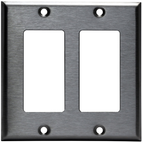 Decorator Wall Plate - Stainless Steel - 2 Gang Image