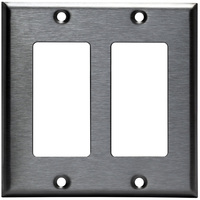 Stainless Steel - 2 Gang - Decorator Wall Plate - Enerlites 7732