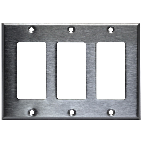Decorator Wall Plate - Stainless Steel - 3 Gang Image