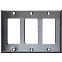 Stainless Steel - 3 Gang - Decorator Wall Plate - Enerlites 7733