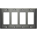 Decorator Wall Plate - Stainless Steel - 4 Gang Image
