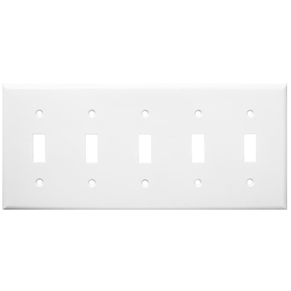 Toggle Wall Plate - White - 5 Gang Image