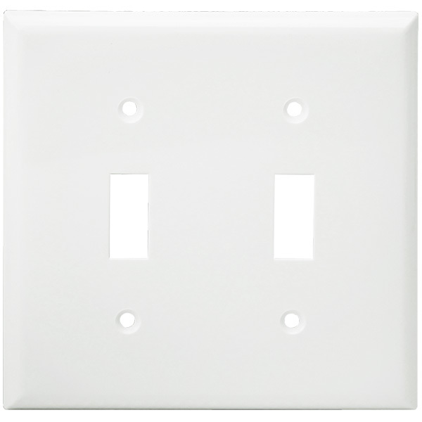 Toggle Wall Plate - White - 2 Gang Image