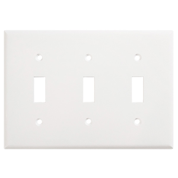 Toggle Wall Plate - White - 3 Gang Image