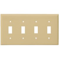 Ivory - 4 Gang - Mid-Size - Toggle Wall Plate - Enerlites 8814M-I