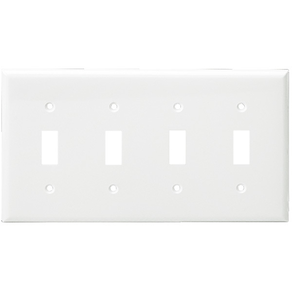 Toggle Wall Plate - White - 4 Gang Image