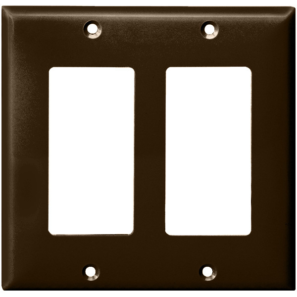 Decorator Wall Plate - Brown - 2 Gang Image