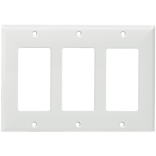 Decorator Wall Plate - White - 3 Gang Image