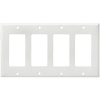 White - 4 Gang - Mid Size - Decorator Wall Plate - Enerlites 8834M-W