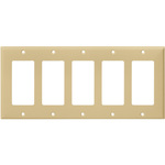 Decorator Wall Plate - Ivory - 5 Gang Image