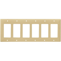 Ivory - 6 Gang - Mid Size - Decorator Wall Plate - Enerlites 8836M-I