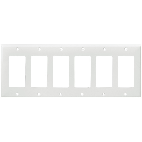 Decorator Wall Plate - White - 6 Gang Image