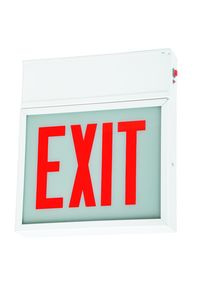 LED Exit Sign - White Steel - Double Arrow - Glass Lens - Red Letters - Double Arrow - 120/277 Volt - Battery Backup - Case of 2
