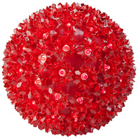 LED - Red Starlight Sphere - Utilizes 100 Wide Angle LED Lights - 7.5 in. dia. - Green Wire - Indoor/Outdoor - 120 Volt