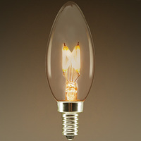 LED Chandelier Bulb - Z-Shape Filament - 2 Watt - 200 Lumens - 25 Watt Equal - Warm Glow - 2700 Kelvin - Tinted - Candelabra Base - Dimmable