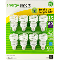 Pack of 8 - 13 Watt - CFL - 60W Equal - 2700K Warm White
