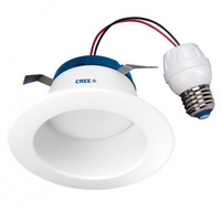 575 Lumens - 4 in. Retrofit LED Downlight - 8W - 50W Equal - 5000 Kelvin - Smooth Baffle Trim - Dimmable - 120V - Cree DR4-575L-50K-B1