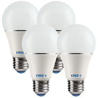 470 Lumens - 5 Watt - 40W Incandescent Equal - LED - A19 - 5000 Kelvin Daylight White - Omni-Directional - 4 Pack - Cree A19-40W-50K-M4