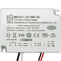 LED Driver - Operates 50 Watts - 24-36V Output - 1500mA Output Current - 100-277V Input - Works With Constant Current Products Only