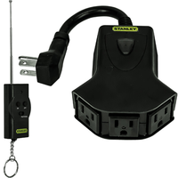 Wireless Power Hub for Christmas Lights - Outdoor Rated - On/Off Remote Control - 3 Outlets - 125V - Black