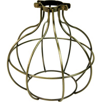 Light Bulb Cage - Sphere Style - Antique Brass - Large Clamp Mount - PLT 37-0116-30
