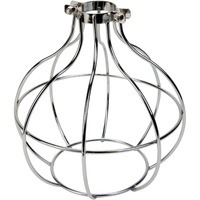 Light Bulb Cage - Sphere Style - Polished Nickel - Large Clamp Mount