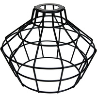 Light Bulb Cage - Large Basket Style - Black Metal - Oversized Washer Mount - PLT 37-0114-50