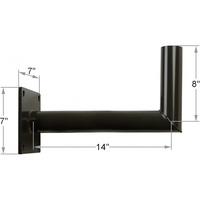 Angled Wall Mount Tenon Bracket - Extends 14 inches - For use with 2-3/8 in. Inside Diameter Slipfitters