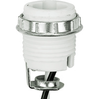 Keyless Socket - Porcelain - 75 Max. Watt - Candelabra Base - 1/8 IPS Hickey Mount - 12 in. Leads - PLT 45-3890-99