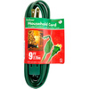 9 ft. Indoor Extension Cord, 3 Grounded Outlets, 13 Amp, 1,625 Max. Wattage, Green
