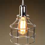 Jar Shaped Cage Pendant - Polished Nickel Fixture  Image