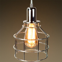 Jar Shaped Cage Pendant - Polished Nickel Fixture - Includes Polished Nickel Cage