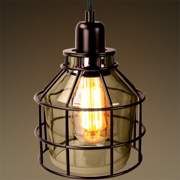 Jar Shaped Cage Pendant - Bronze Fixture Image