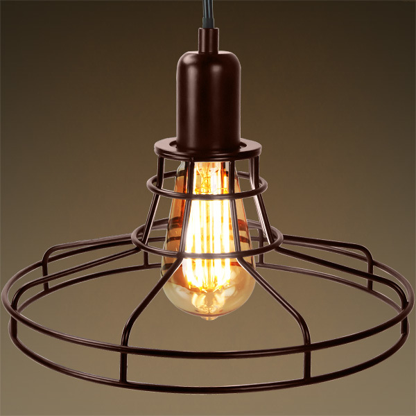 Railroad Shaped Cage Pendant - Bronze Fixture Image
