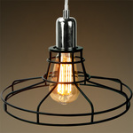 Railroad Shaped Cage Pendant - Polished Nickel Fixture Image