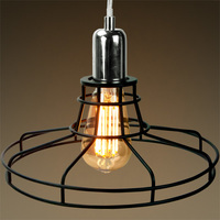 Railroad Shaped Cage Pendant - Polished Nickel Fixture - Includes Black Cage
