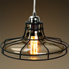 Railroad Shaped Cage Pendant, Polished Nickel Fixture, Includes Black Cage and Smoke Glass