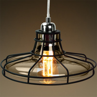 Railroad Shaped Cage Pendant - Polished Nickel Fixture - Includes Black Cage and Smoke Glass