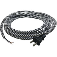11 ft. - Black and White Houndstooth - SVT/2 Rayon Covered Cord Set - 18 AWG - 2 Prong Plug - Indoor Use Only