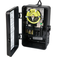 24 Hour Mechanical Dial Time Switch - Raintight Plastic Case - Black Finish - 120 Volt - Precision Multiple CD101