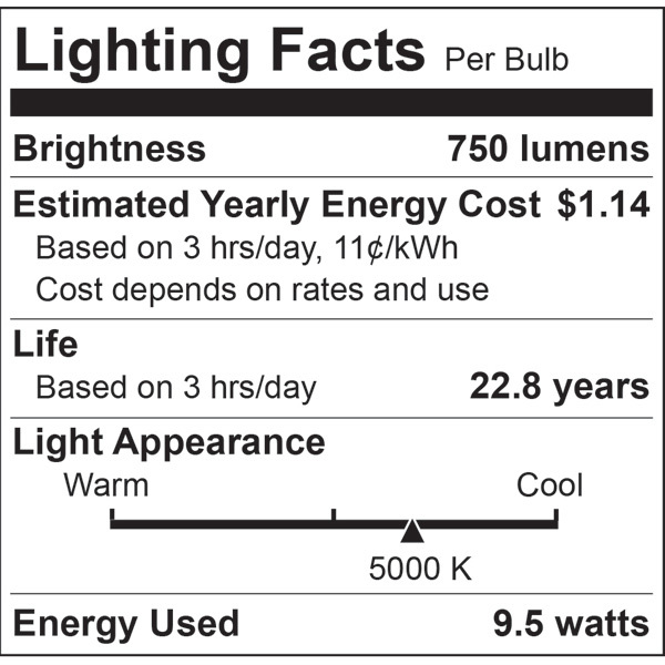 LED - A19 - 9.5 Watt - 60W Incandescent Equal Image