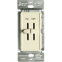 Fan Control and Incandescent Dimmer - Single Pole - Dual Slide - Light Almond