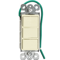 Light Almond - 15 Amp Max. - Decorator Triple Switch - Single Pole - Rocker Switch - 120/277 Volt