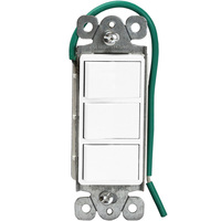 Decorator Triple Switch - Single Pole - White - 15 Amp Maximum - Rocker Switch - 120-277 Volt - Enerlites 62755-W