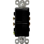 Black - 15 Amp Max. - Decorator Double Switch Image