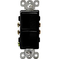 Black - 15 Amp Max. - Decorator Double Switch - Single Pole - Rocker Switch - 120/277 Volt