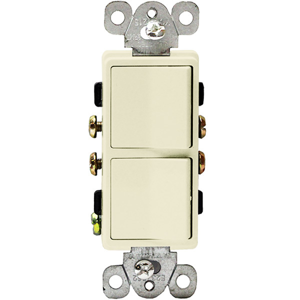 Light Almond - 15 Amp Max. - Decorator Double Switch Image